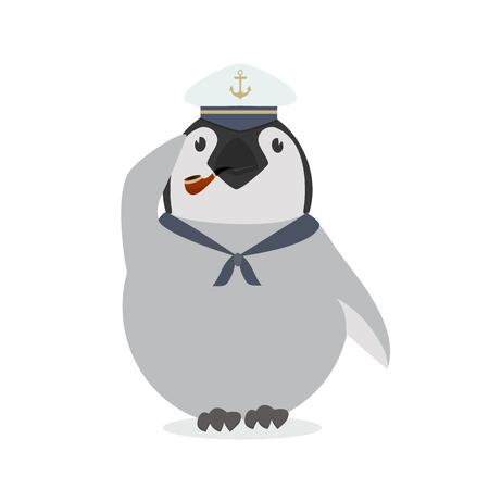 Cute sailor penguin vector Standard-Bild - 124941252