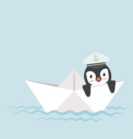 penguin in Paper boat vector Illustration