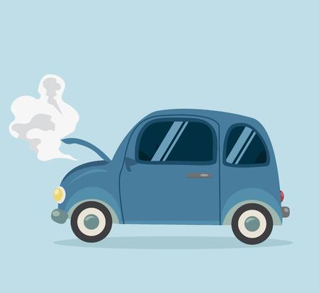 Breakdown Mini Car Flat styled Illustration