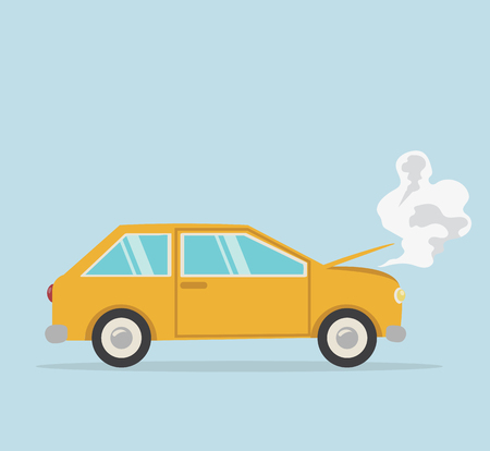 Breakdown yellow car Flat styled Standard-Bild - 124860828