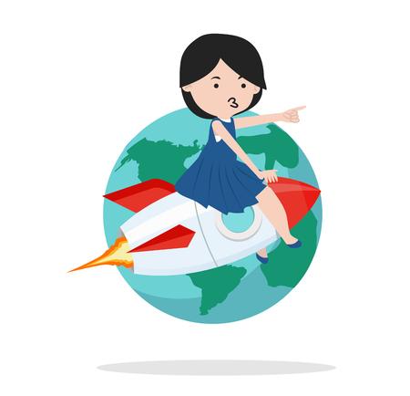 girl on rocket with earth Çizim
