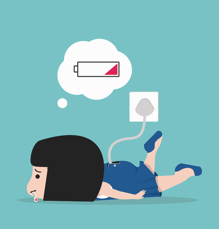 Sick little girl tired with battery Illustration