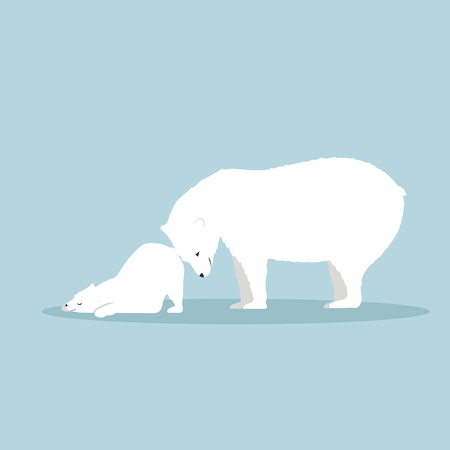 Polar bear with cub  vector Stock Illustratie