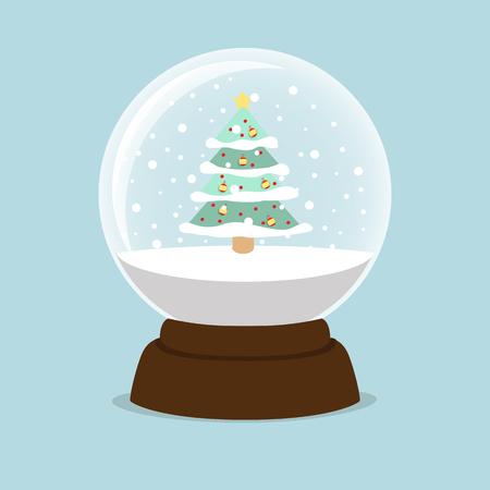 tree Christmas inside a crystal ball