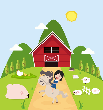 Collection of farm animals vector Illustration