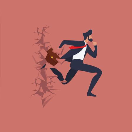 businessman run Breaking the wall Standard-Bild - 124688365