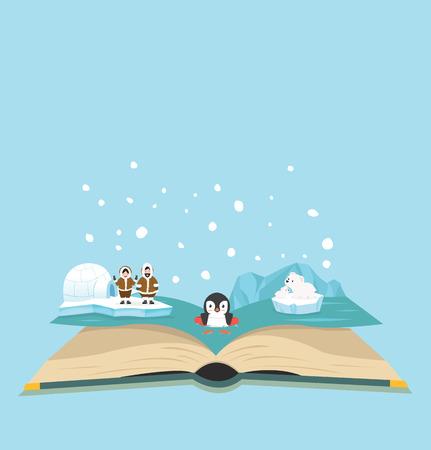 Open book of North pole background Standard-Bild - 124688366