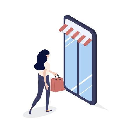 girl shop online Isometric concept Standard-Bild - 124618233