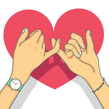 Ręcznie rysowane obietnica z sercem