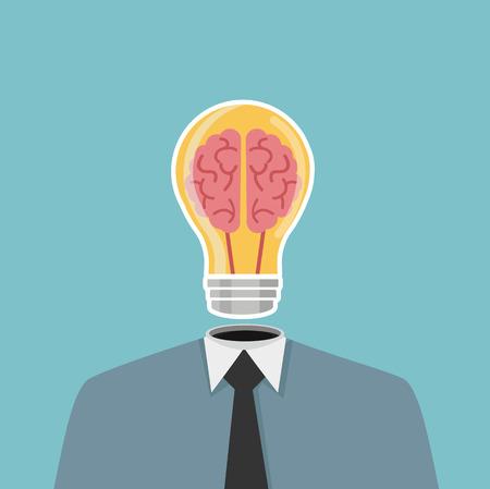 Businessma head Light bulb Standard-Bild - 124448690