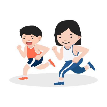 girl and boy attractive jogging