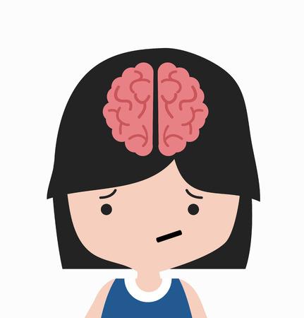 brain in head  girl cartoon 일러스트