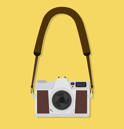 camera hanging Flat style vintage Standard-Bild - 124331427