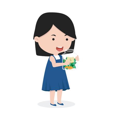 girl carry money jars  concept of saving money Illustration
