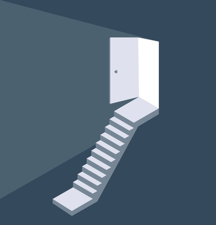 Light from the open door staircase concept