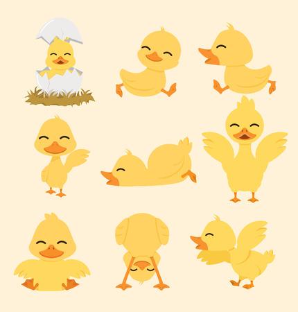 Cute yellow duck cartoon set  イラスト・ベクター素材