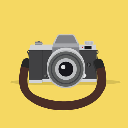 camera in a flat style with strap