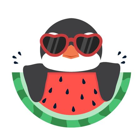 penguin with fresh watermelon Standard-Bild - 124104363