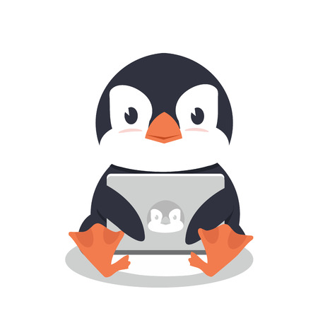 Penguin sitting with a laptop Standard-Bild - 124104365