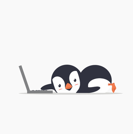 funny penguin with a laptop Standard-Bild - 124104366