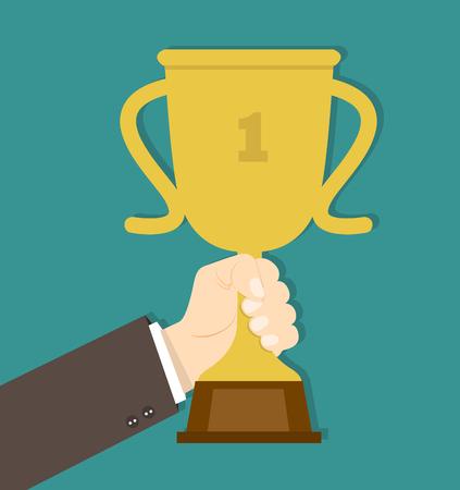 Businessman Hand holding trophy Standard-Bild - 124072752