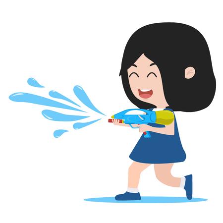 cartoon girl hold watergun Standard-Bild - 124048502