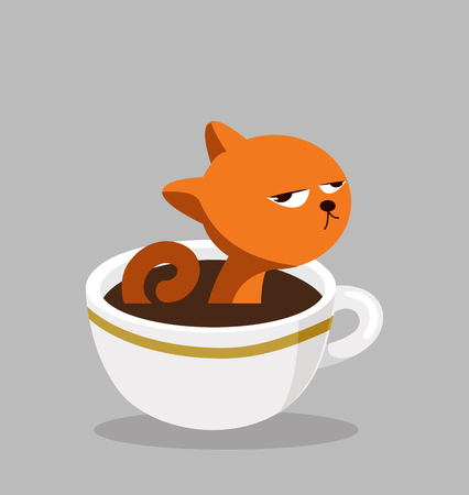 cat with Black coffee cup Standard-Bild - 123971556