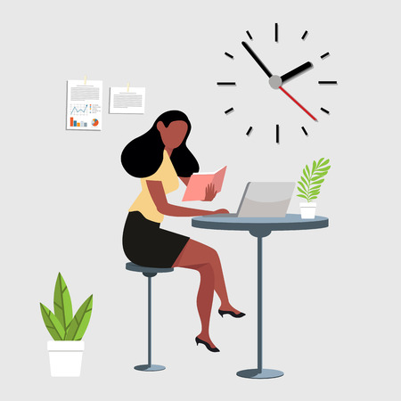 woman reading a book with computer workspace Illustration