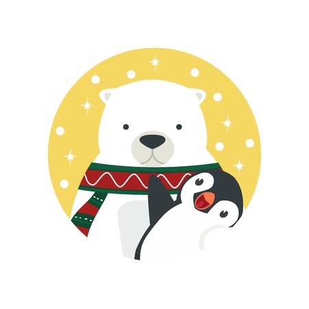 polar bear hug penguin Standard-Bild - 123870615