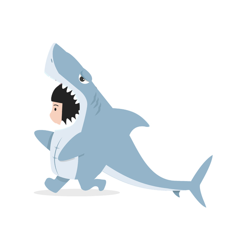 kid characters in shark costume Standard-Bild - 123870619