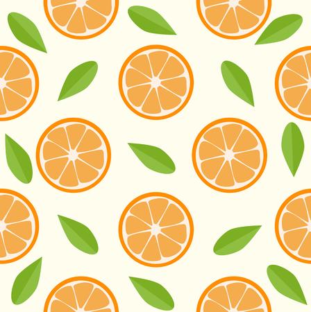 oranges and leaves Seamless pattern Standard-Bild - 123816820