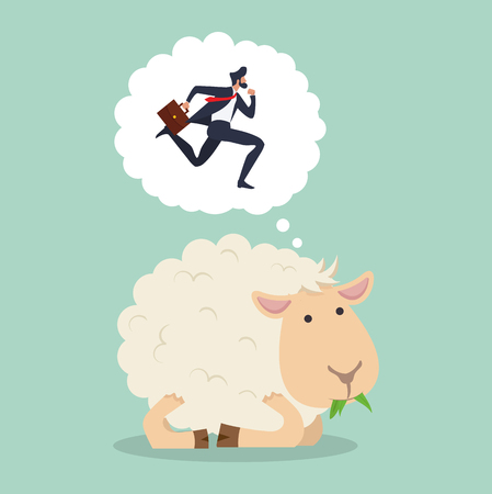 Cute sheep eat grass counting businessman jumping