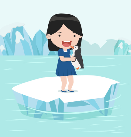 girl, tenue, pingouin, dans, pôle nord, arctique Vecteurs