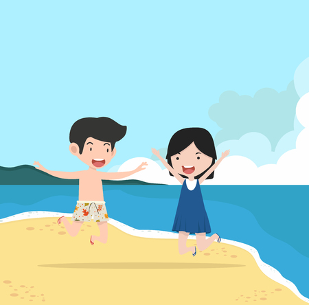 boy and girl Couple  with Summer  Beach