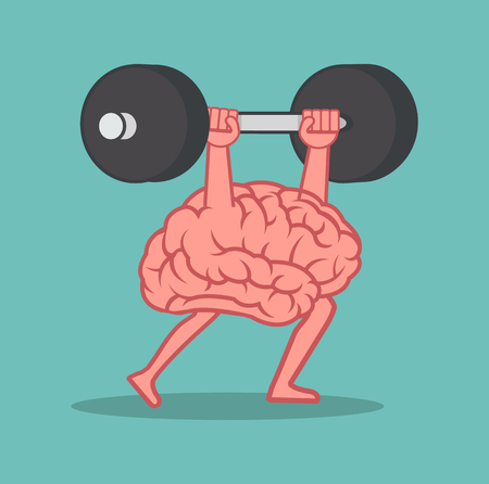 brain Lifting Weights over head cartoon