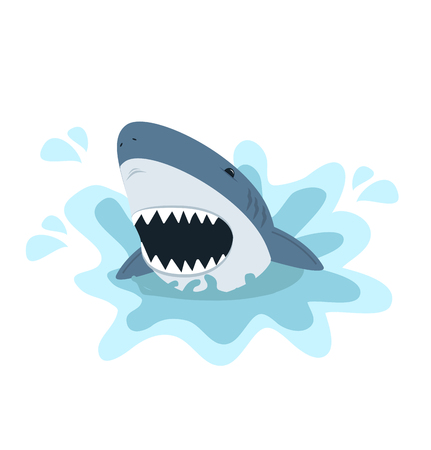 White shark with open mouth Illustration