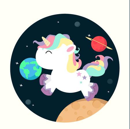 Unicorn mini in space vector