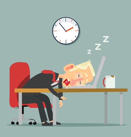 businessman character  Sleeping at work