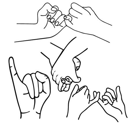 hand gesture  Promise outlines set Illustration