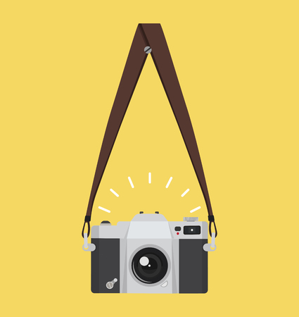 hanging old camera  in a flat style with strap