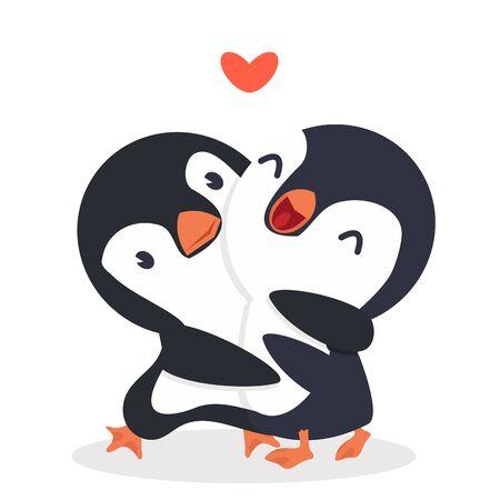 Cute  Penguins happy Couple hug Illustration