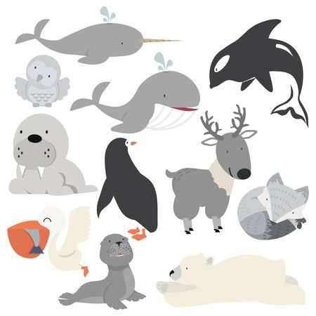 Artic animals  cartoon Christmas set Vectores