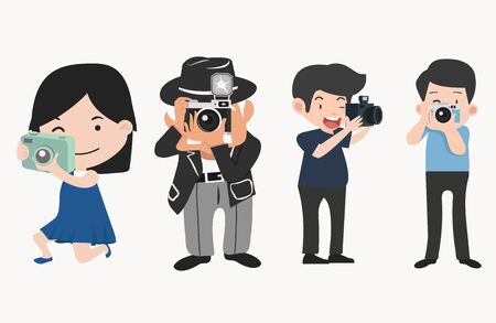 Photographers with cameras in different poses