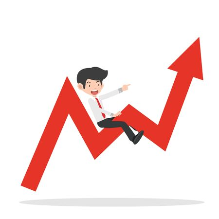 businessman ride on graph arrow going up