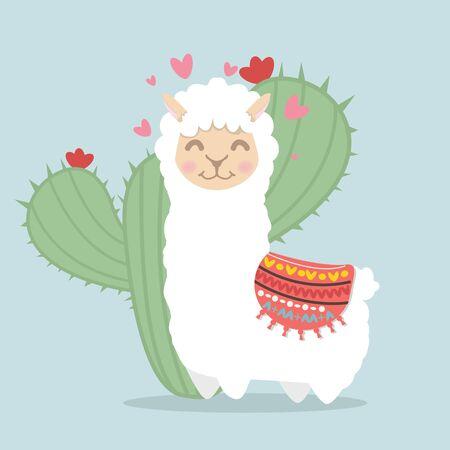 llama alpaca  fluffy with cactus plant