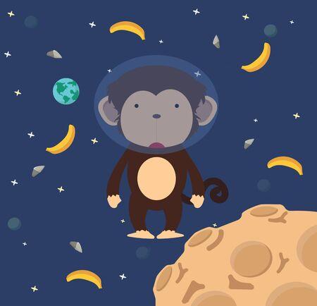 Astronaut monkey  in space flat design