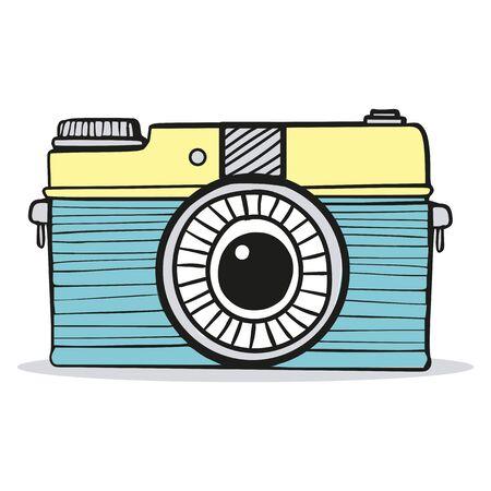 Cámara retro doodle vector dibujado a mano Ilustración de vector