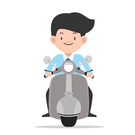 businessman driving front view motorbike vector