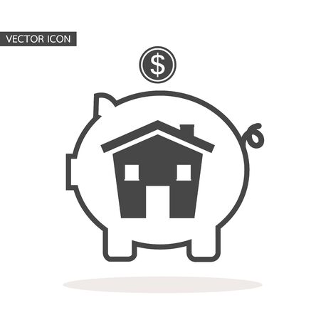 Piggy bank with house icon