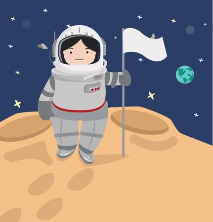 Small girl Astronaut  in a space flat design